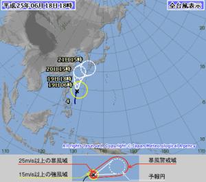 もし、台風の場合(現在996hPa) 当日朝の8時で決定